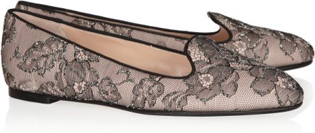 Valentino Embellished Lace and Leather Loafers in Black