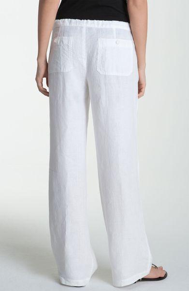 Vince Wide Leg Linen Drawstring Pants In White Lyst