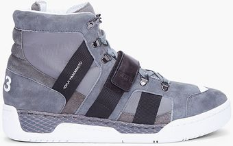 Y-3 Grey Suede Held Sneakers - Lyst