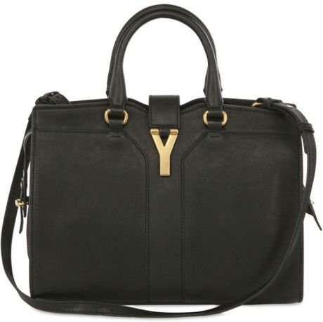 Yves Saint Laurent Mini Cabas Chyc Leather Shoulder Bag in Black - Lyst