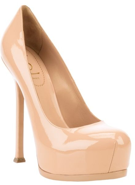 Yves Saint Laurent Tribtoo Pump in Beige (nude) - Lyst
