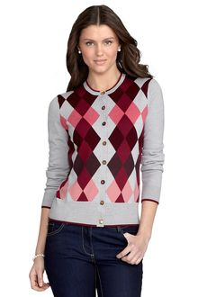 Brooks Brothers Merino Wool Argyle Cardigan - Lyst