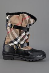 Burberry Checked Mid Calf Boot in Black - Lyst