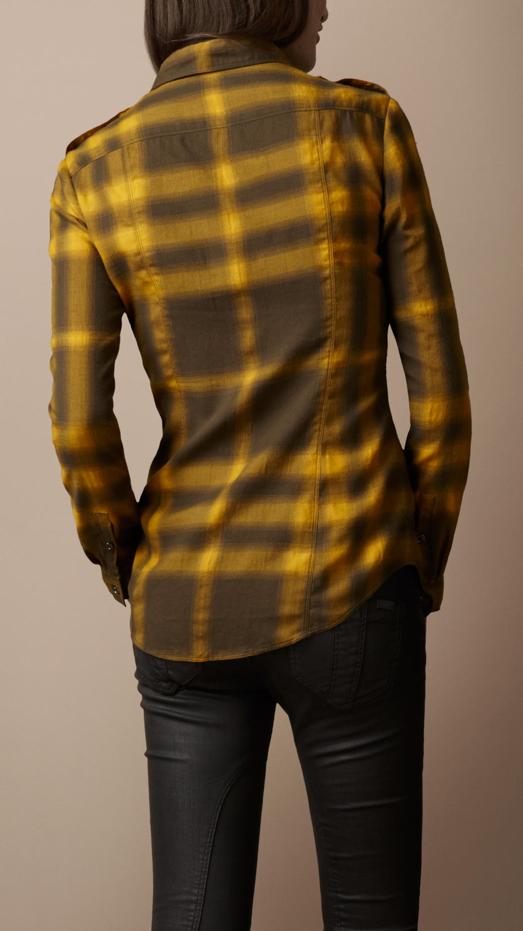 91ace4df3ad00a Lyst - Burberry Brit Fitted Ombre Check Shirt in Yellow
