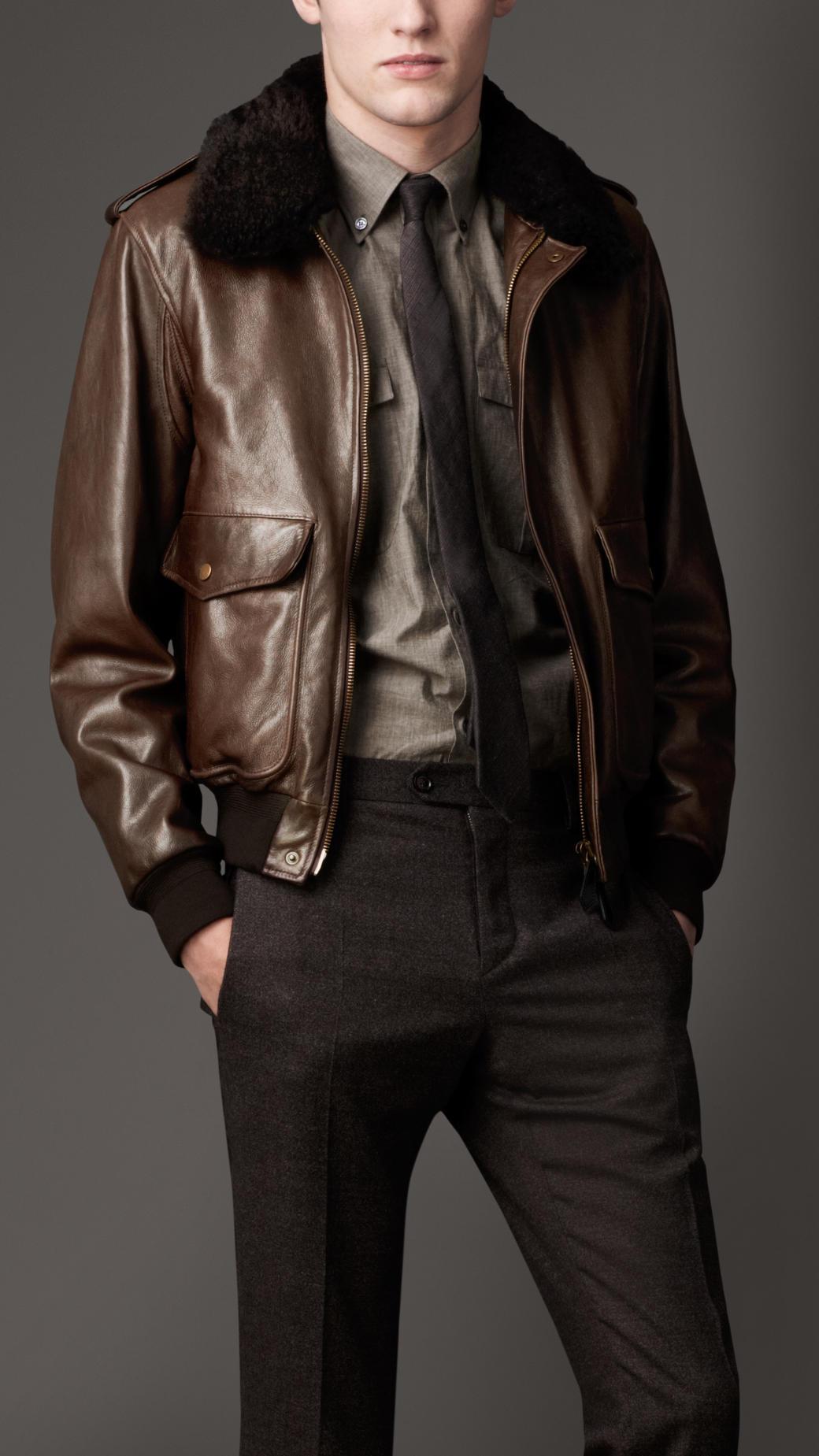 Burberry Shearling Collar Warmer Blouson In Brown For Men Lyst