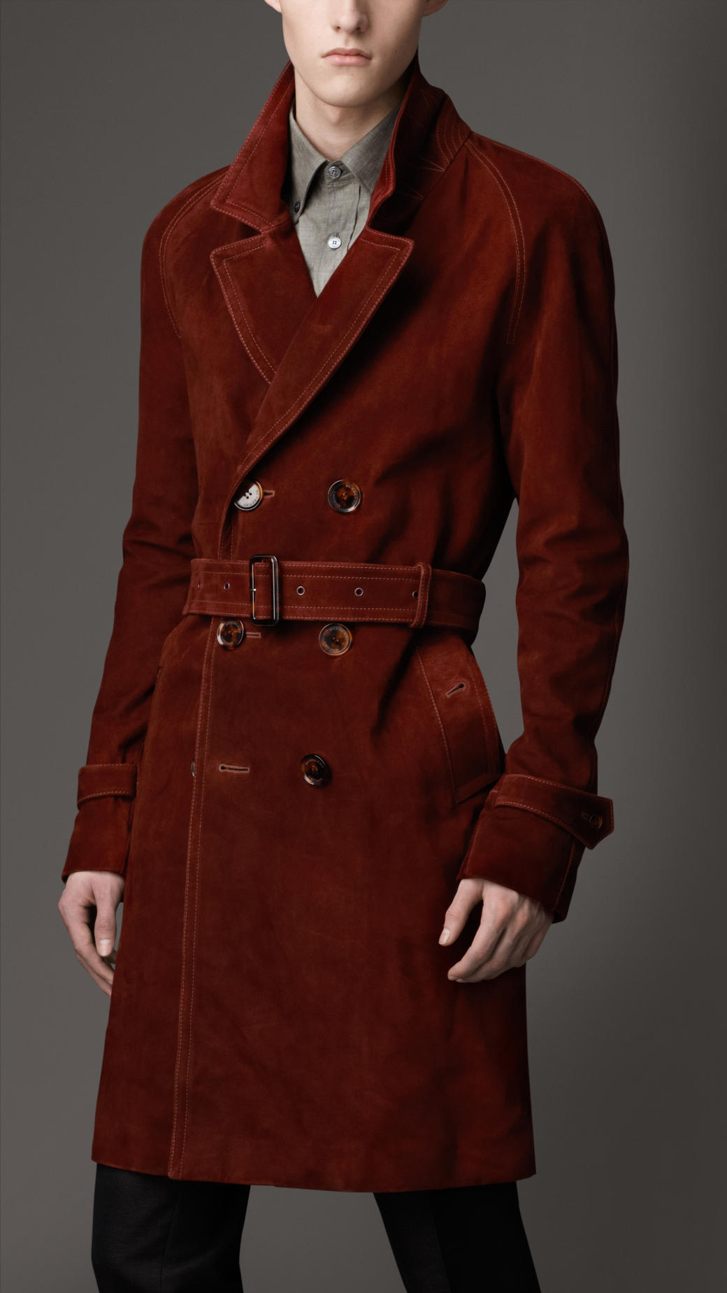 881bcc1d32 Burberry Mid-Length Waxed Suede Trench Coat in Brown for Men - Lyst