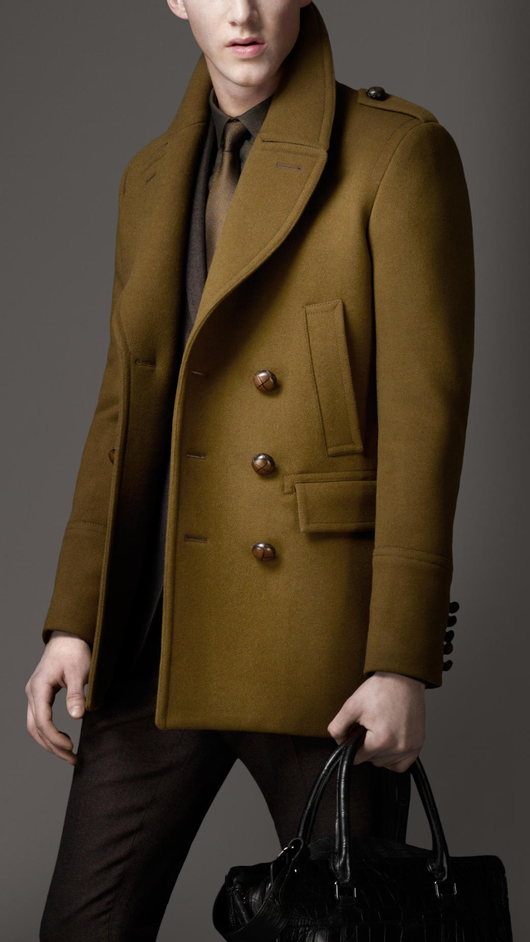 Lyst Burberry Felted Wool Pea Coat In Green For Men