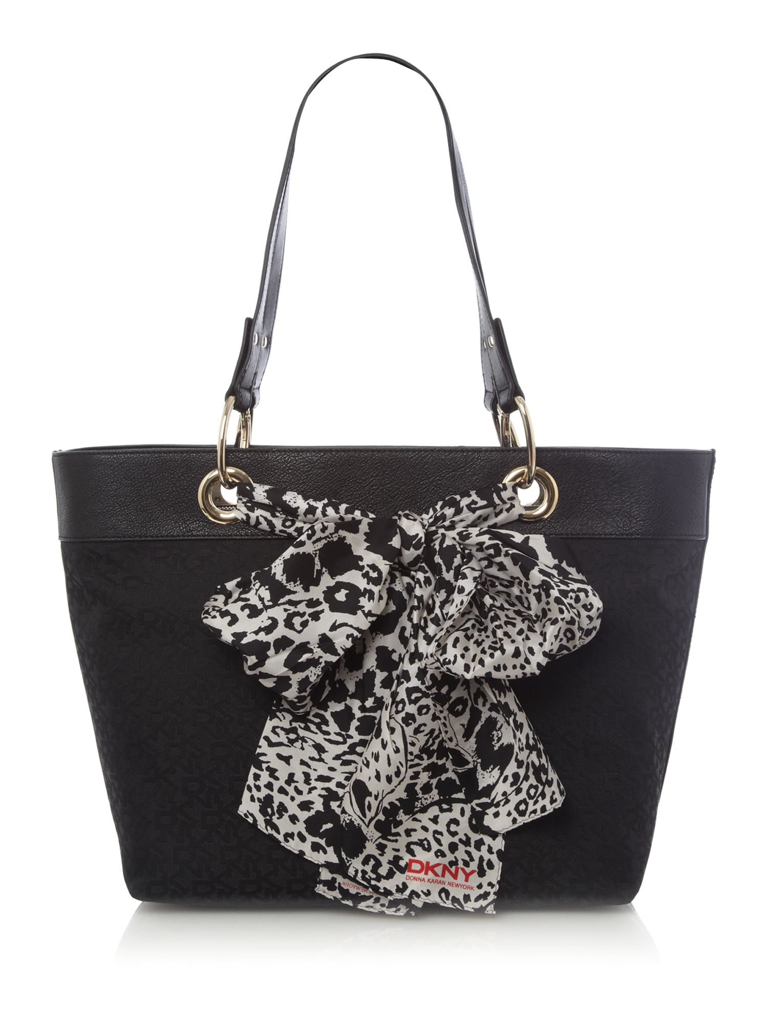 lyst dkny scarf bag tote in black