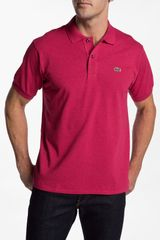 Lacoste Classic Fit Heathered Piqué Polo - Lyst