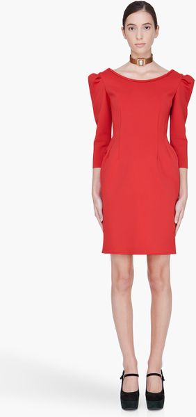 Lanvin Red Robe Dress in Red - Lyst