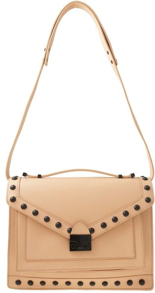 Loeffler Randall Studded Rider Bag in Beige (black) - Lyst
