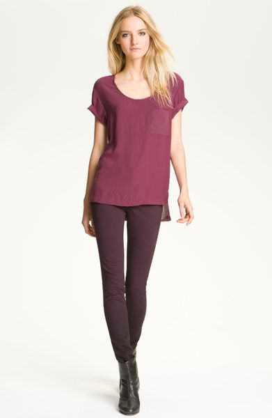 Rag & Bone Shine Back Pocket Tee in Purple (wine) - Lyst
