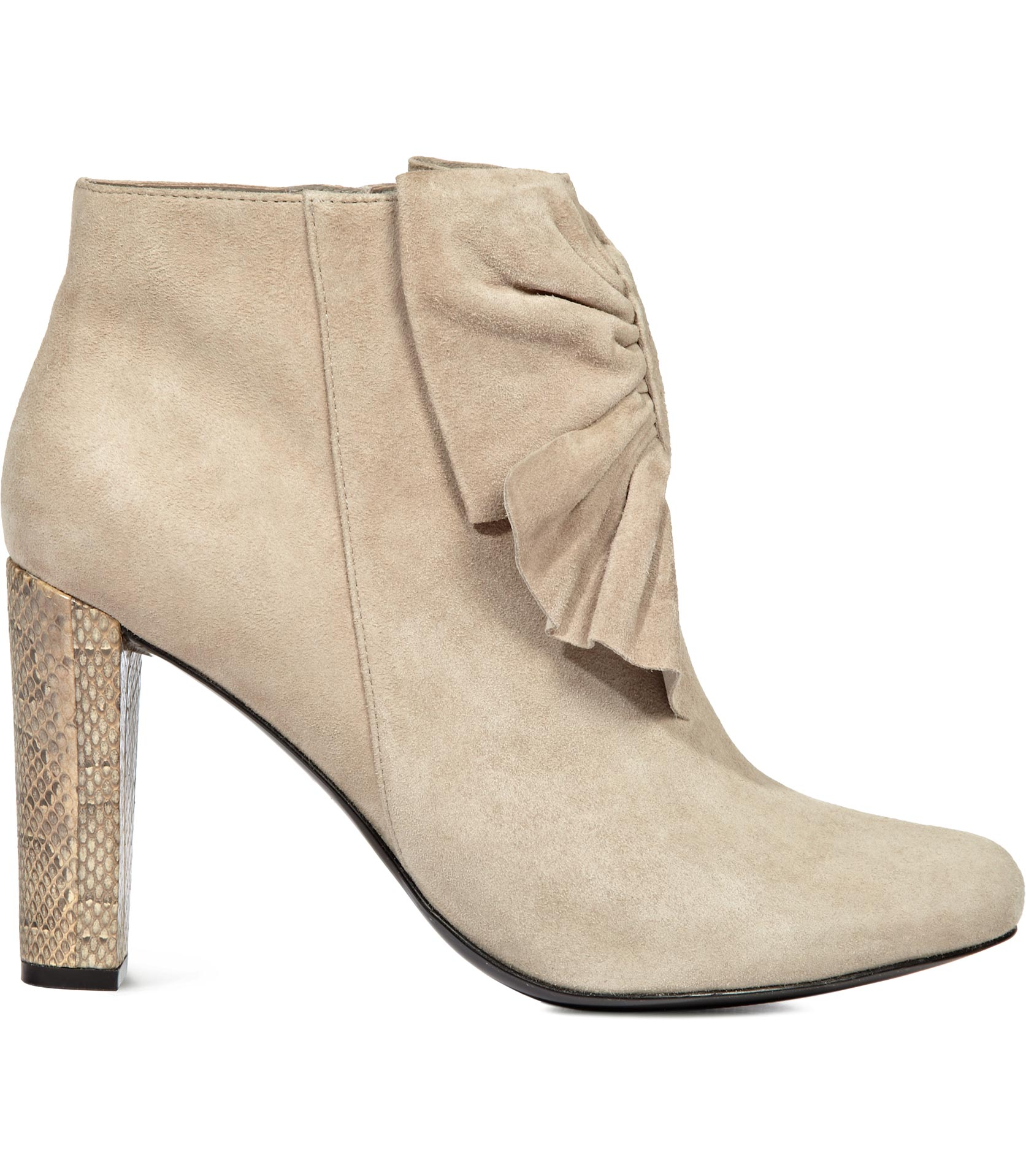 shoeniverse beige suede bow front ankle boots by reiss