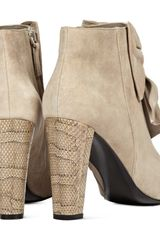 Reiss Bow Front Ankle Boots in Beige (natural) - Lyst