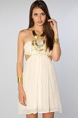 Reverse The Gold Embellished Tube Dress in Beige (gold) - Lyst