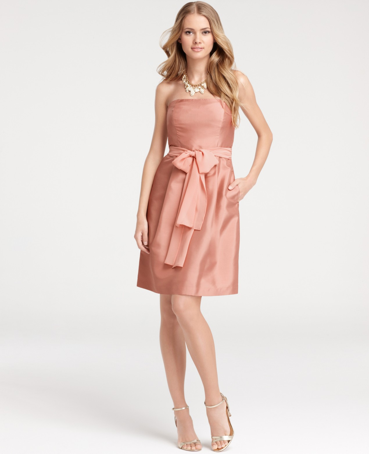 Lyst ann taylor silk dupioni strapless bridesmaid dress in pink gallery womens bridesmaid dresses ombrellifo Images