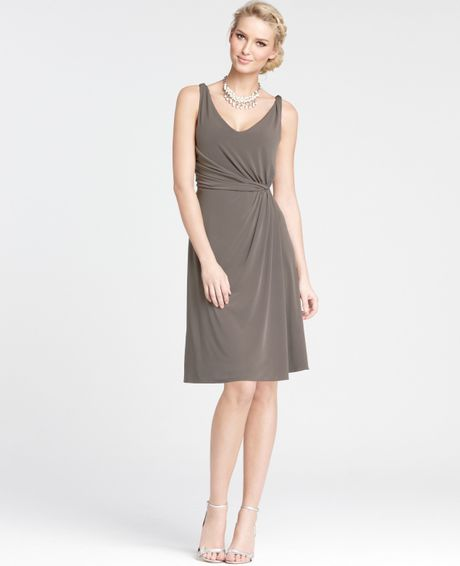 Ann taylor jersey twisted strap bridesmaid dress in brown for Anne taylor wedding dress