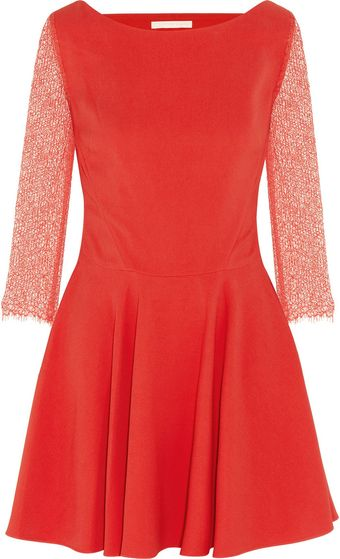 Antonio Berardi Lace Sleeved Crepe Skater Dress - Lyst
