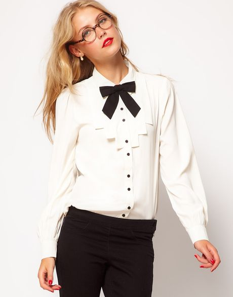 Asos Collection Asos Blouse with Folded Bib and Contrast Bow in White (cream) - Lyst