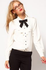 ASOS Collection Asos Blouse with Folded Bib and Contrast Bow - Lyst