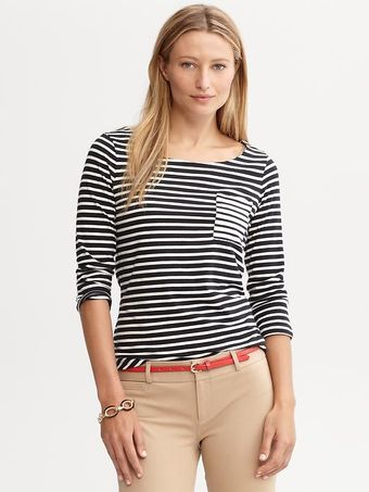 Banana Republic Mixed Stripe Tee - Lyst
