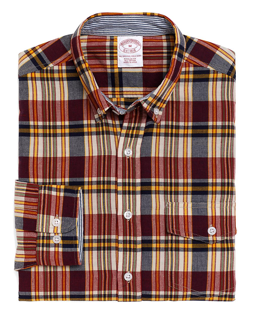 lyst brooks brothers plaid madras sport shirt in brown. Black Bedroom Furniture Sets. Home Design Ideas