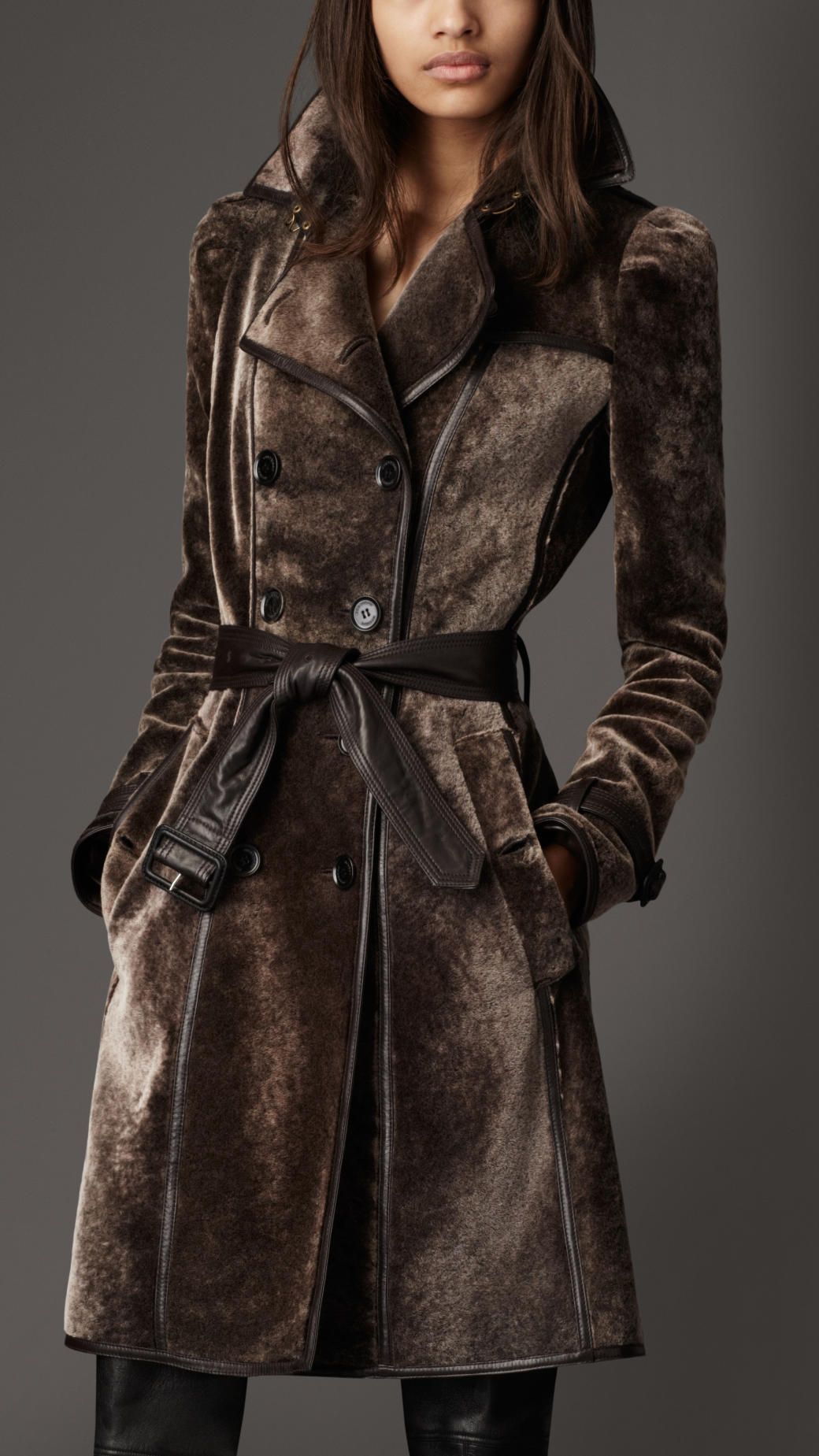 Burberry Long Shearling Trench Coat in Brown | Lyst