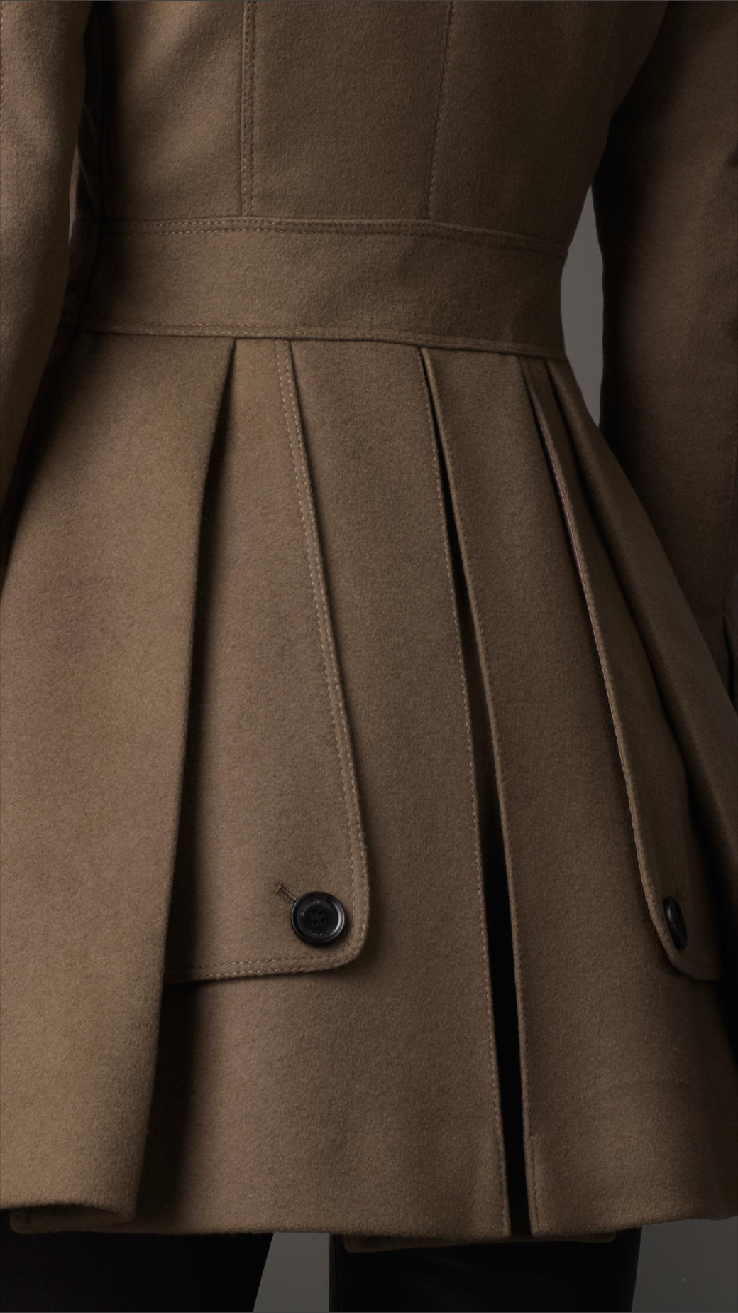 Burberry Fitted Wool Cashmere Pea Coat in Brown | Lyst
