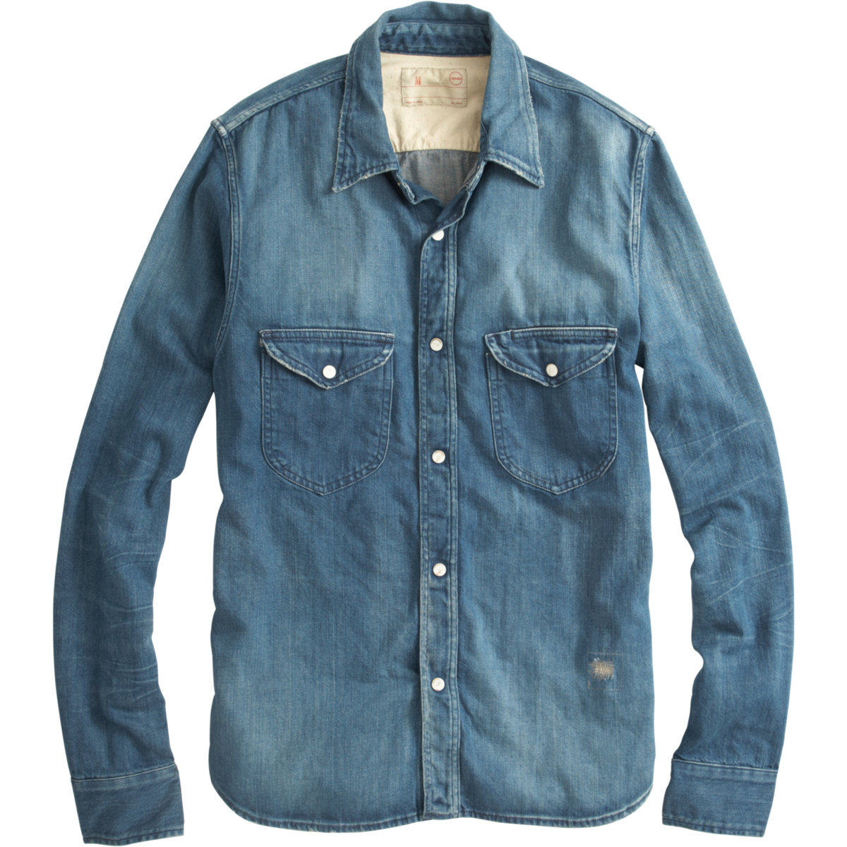 Chimala denim snap button shirt in blue for men lyst for Mens shirts with snaps instead of buttons