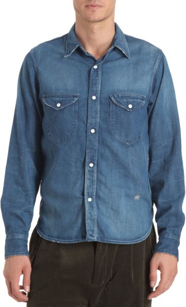 Chimala denim snap button shirt in blue for men denim lyst for Mens shirts with snaps instead of buttons