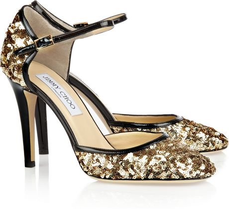 Jimmy Choo Tessa Sequined Leather Pumps in Gold