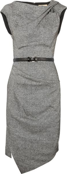 Michael Kors Draped Wool and Silkblend Tweed Dress - Lyst