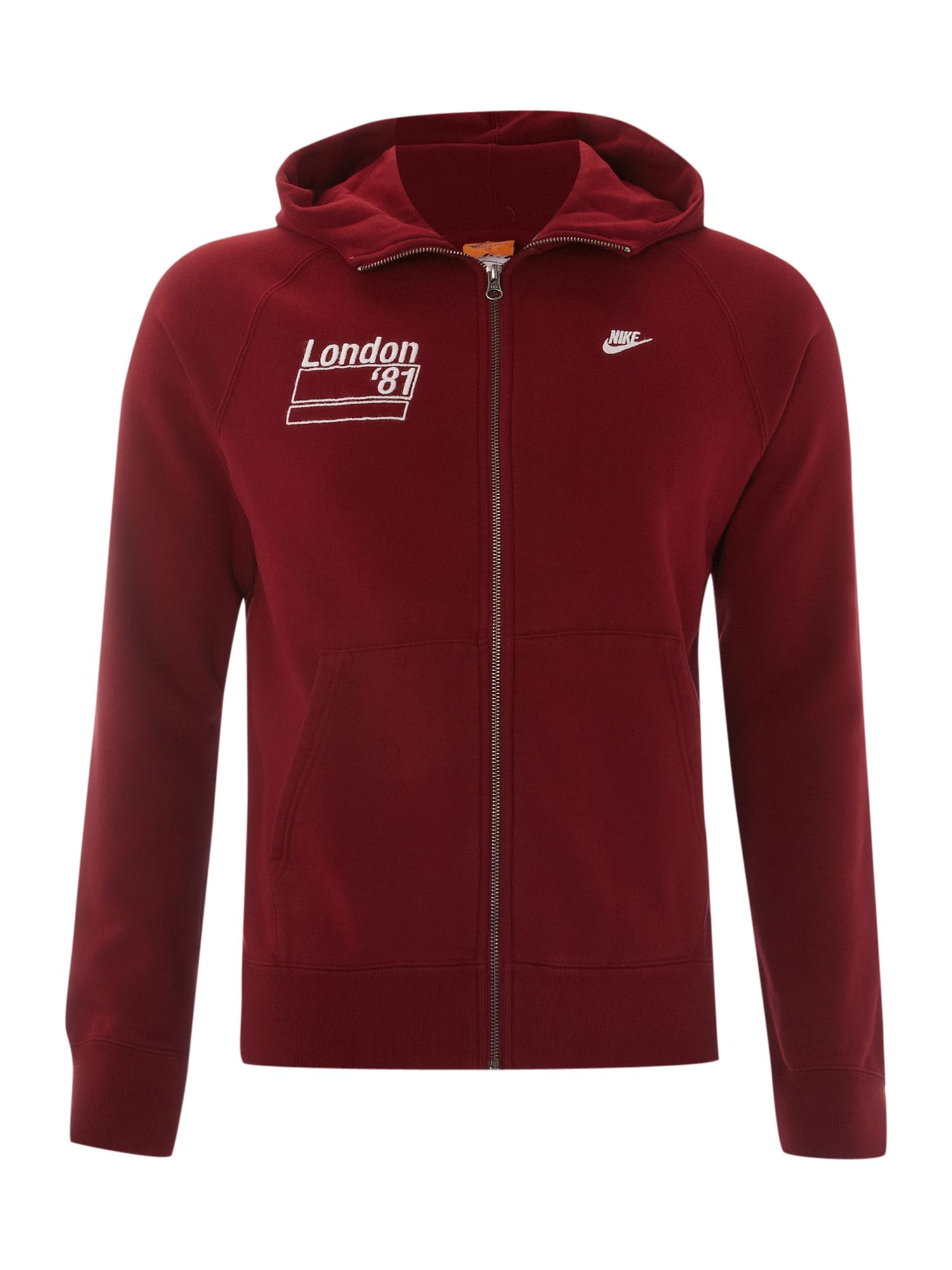 Nike hooded sweat shirt in brown for men burgundy lyst for How to not sweat through dress shirts