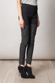 Raquel Allegra Heavy Ribbed and Leather Boot Trousers - Lyst