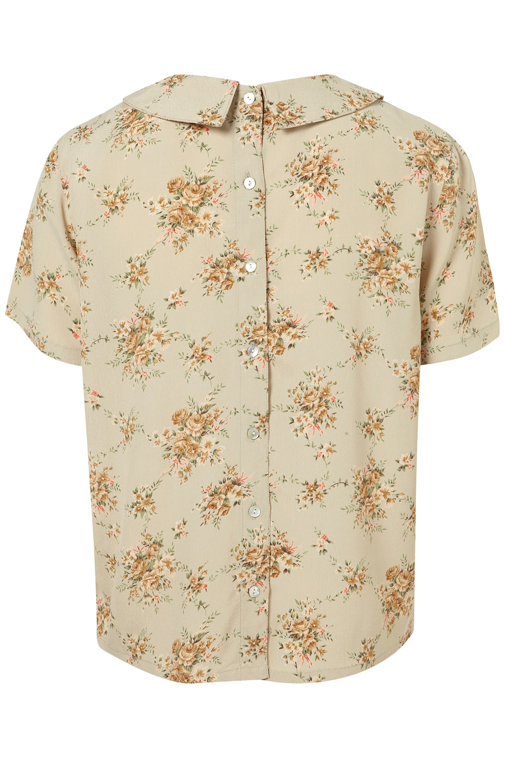 Lyst topshop floral pintuck collar blouse in natural gallery jeuxipadfo Image collections