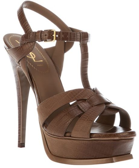 Saint Laurent Strappy Sandal in Brown - Lyst