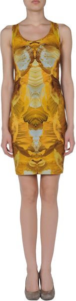 Alexander Mcqueen Short Dress in Brown (yellow) - Lyst