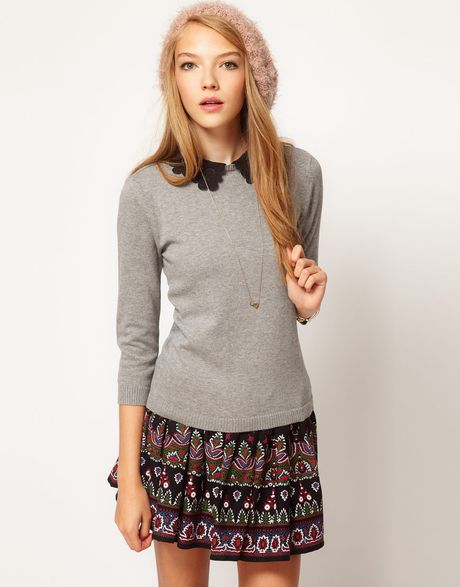 Asos Collection Lace Collar Jumper in Gray (grey) - Lyst