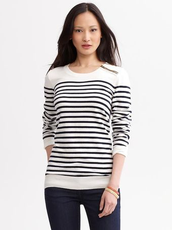 Banana Republic Striped Zip Sweater - Lyst