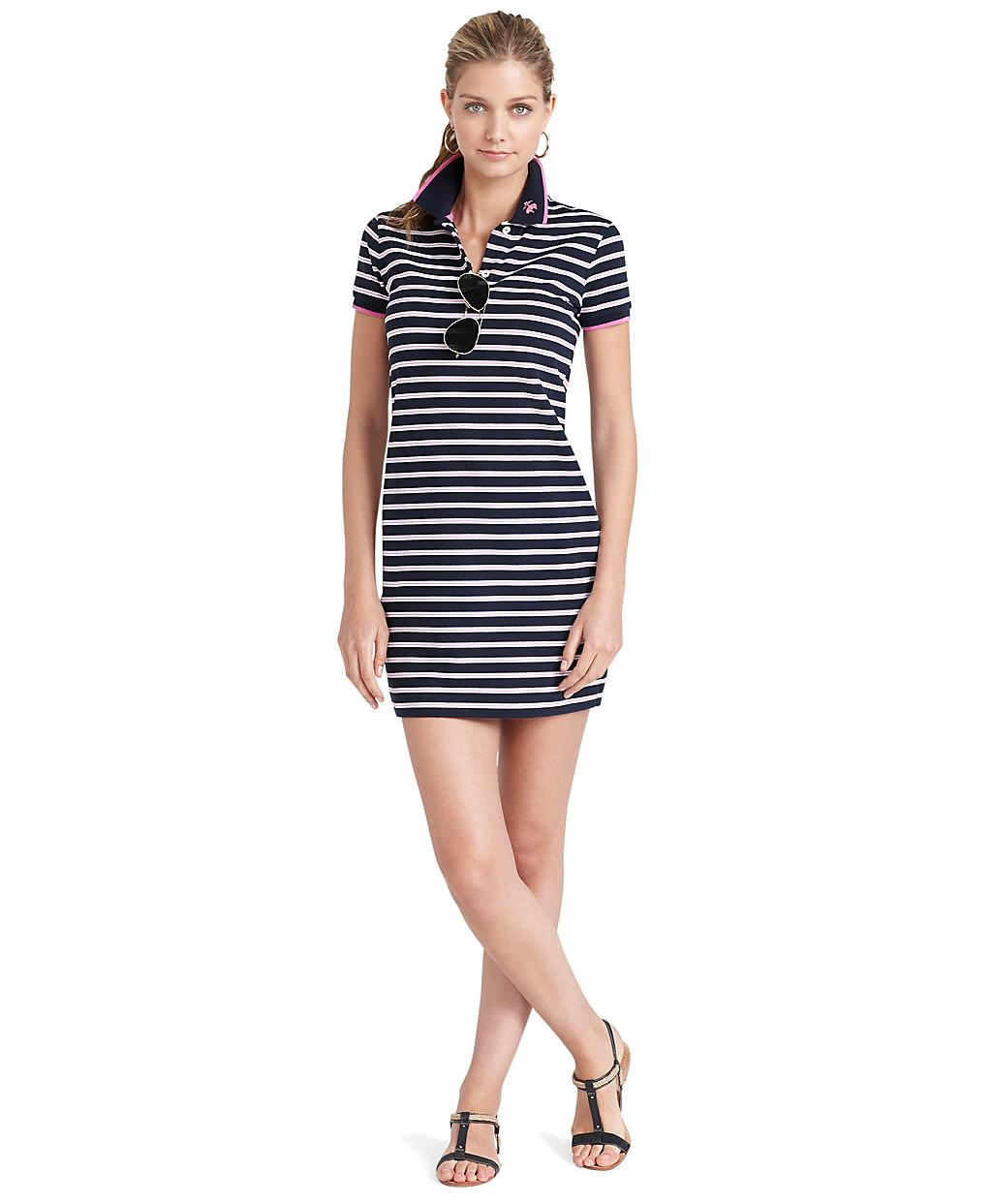 Brooks Brothers Rugby Short Sleeve Striped Dress In White