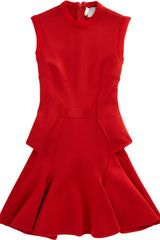 Givenchy Knit Peplum Flare Dress in Red - Lyst