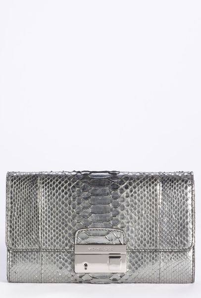 michael kors gia genuine python clutch in silver lyst. Black Bedroom Furniture Sets. Home Design Ideas