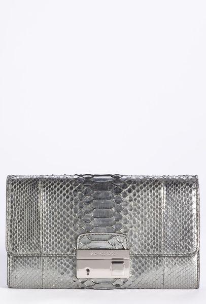 michael kors gia genuine python clutch in silver lyst. Black Bedroom Furniture Sets. Home Design Ideas