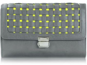 Poupee Couture Woven Cover Clutch in Grey and Neon Yellow - Lyst