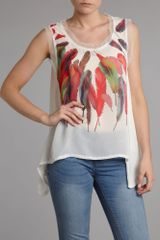 Pussycat Feather Print Chiffon Vest in Beige (white) - Lyst