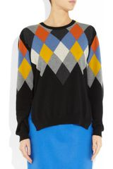 Stella Mccartney Argyleintarsia Wool and Cashmereblend Sweater in Multicolor (black) - Lyst