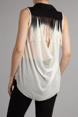 Tfnc Fringe Back Shirt in Black (cream) - Lyst