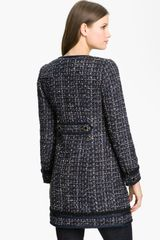 Tory Burch Annabelle Tweed Coat in Blue (navy multi) - Lyst