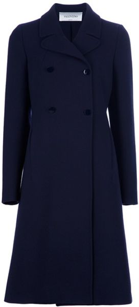 Valentino Double Breasted Coat in Blue - Lyst