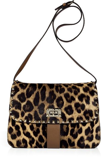 Valentino Leopard Studded Calf Hair Bag - Lyst
